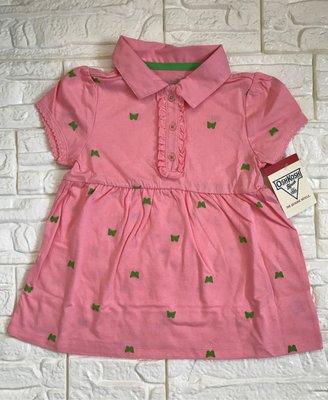 全新 OshKosh 綠蝴蝶粉色POLO衫、尺寸:4T