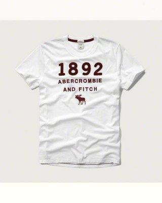 Maple麋鹿小舖 Abercrombie&Fitch*AF 白色貼布電繡麋鹿短T * ( 現貨XXL號 ) 高雄市