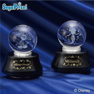 絕版商品  掌上 桌上 水晶球 迪士尼 Disney 雷射水晶球 雪花球 音樂球 雷雕 (兩款可選) 米奇 小美人魚