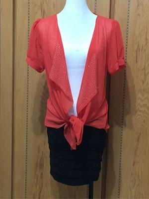 全新二手🌸🌸🌸橘色罩衫、內白色小可愛、黑色包裙