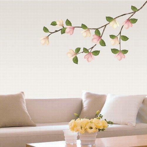【皮蛋媽的私房貨】韓國進口壁貼&壁紙*室內設計/裝飾*高雅粉嫩~木棉花