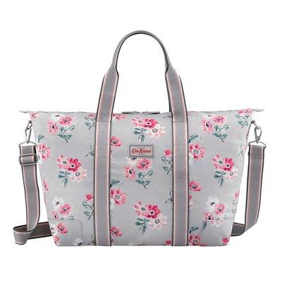 【現貨】英國 Cath Kidston 灰底紅花氣質 摺疊 旅行袋 超好看 實用款 好收納 過夜包