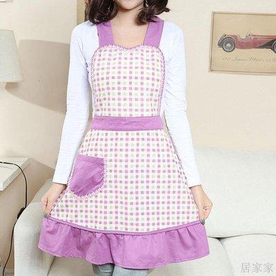 居家家 韓版圍裙家用時尚防塵廚房做飯加大圍腰女士成人圍裙