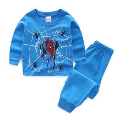 •*~ 辣媽咪衣飾小舖 ~*•❤童裝系列 📣K030212韓版兒童春秋款居家服休閒卡通圖案蜘蛛人長袖上衣+長褲二件套