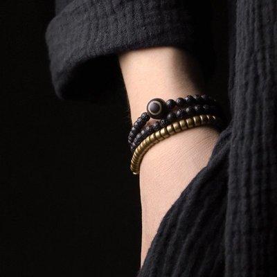YouDo wh 原創復古黑色火山石細珠子手鏈女簡約金屬銅手串男女情侶手串個性套裝