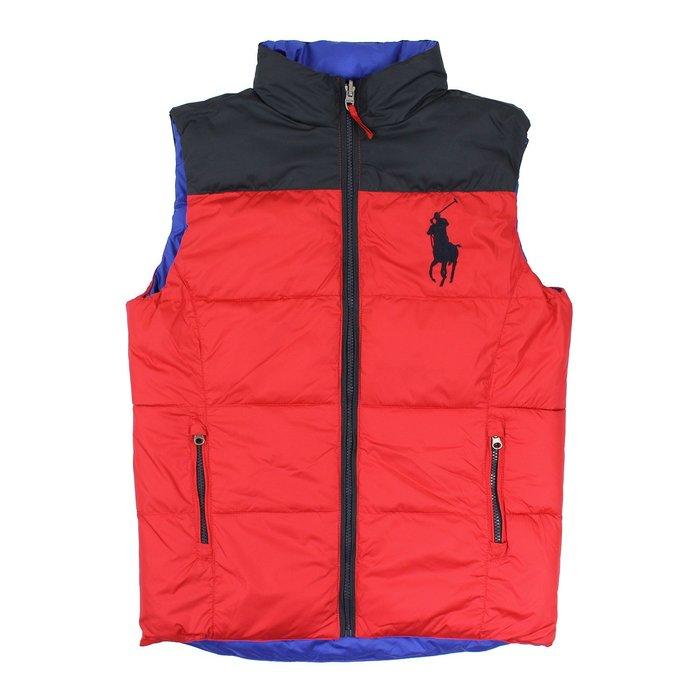 美國百分百【Ralph Lauren】背心 RL 上衣 Polo 大馬 紅黑藍 雙面 無袖夾克 S號 男衣 E627