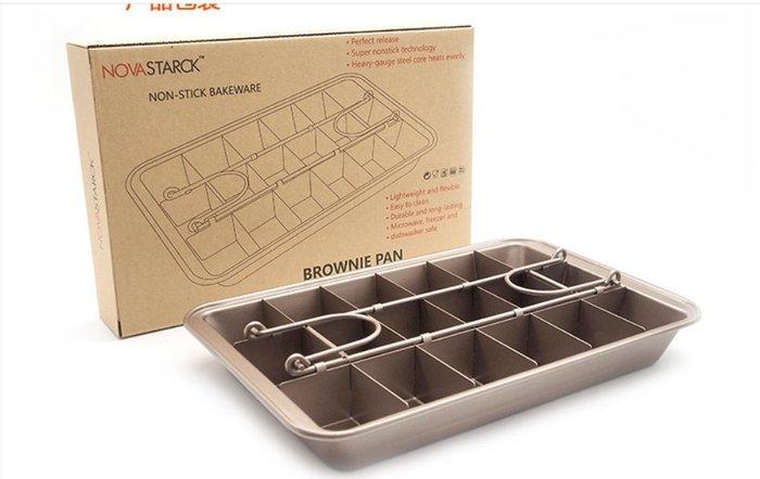 Amy烘焙網:固定底18格不朗尼烤盤/加厚重型鋼不沾分格烤盤/巧克力不朗尼烤盤/烘焙用具