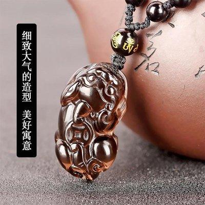 墾丁老街黑曜石貔貅珠鏈吊墜冰曜石男女情侶款項鏈冰種貔貅項墜飾品