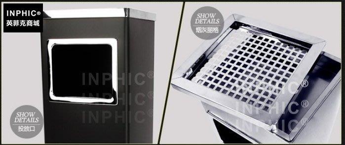 INPHIC-附煙灰菸灰缸酒店垃圾桶 大廳賓館不鏽鋼垃圾桶立式垃圾箱加厚加大黑色不鏽鋼色