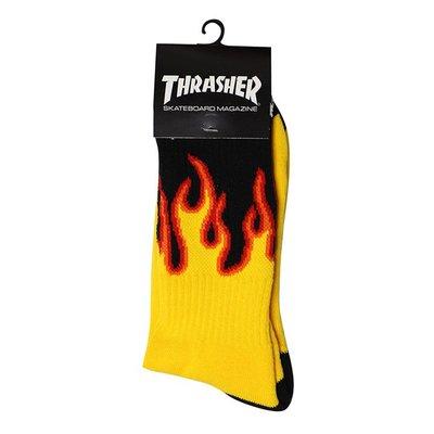 【QUEST】THRASHER FLAME SOCKS 火焰 高筒襪 長襪 黑黃