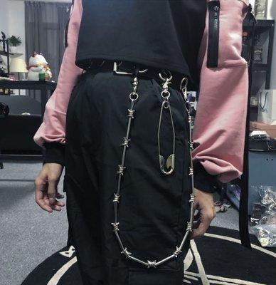 【黑店】歐美個性荊棘金屬褲練 個性飾品 荊棘百搭單品 男女同款暗黑系穿搭個性穿搭荊棘腰鏈 ZY132
