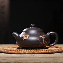 高鳴商城 宜興紫砂壺名家手工原礦黑泥彩繪西施茶壺 編號a005