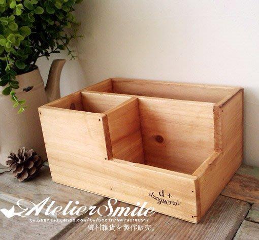 [ Atelier Smile ] 鄉村雜貨 木製復古懷舊款木盒 桌上收納盒/筆筒 ZAKKA 木盒 #特價