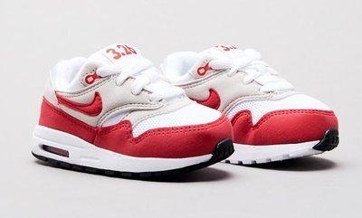 =CodE= NIKE AIR MAX 1 OG TD QS 慢跑學步鞋(白紅) 9019890-101 小童嬰兒 預購