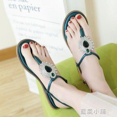 2018新款夏季時尚潮水鑽夾腳平底波西米亞帶鑽夾趾防滑羅馬女涼鞋