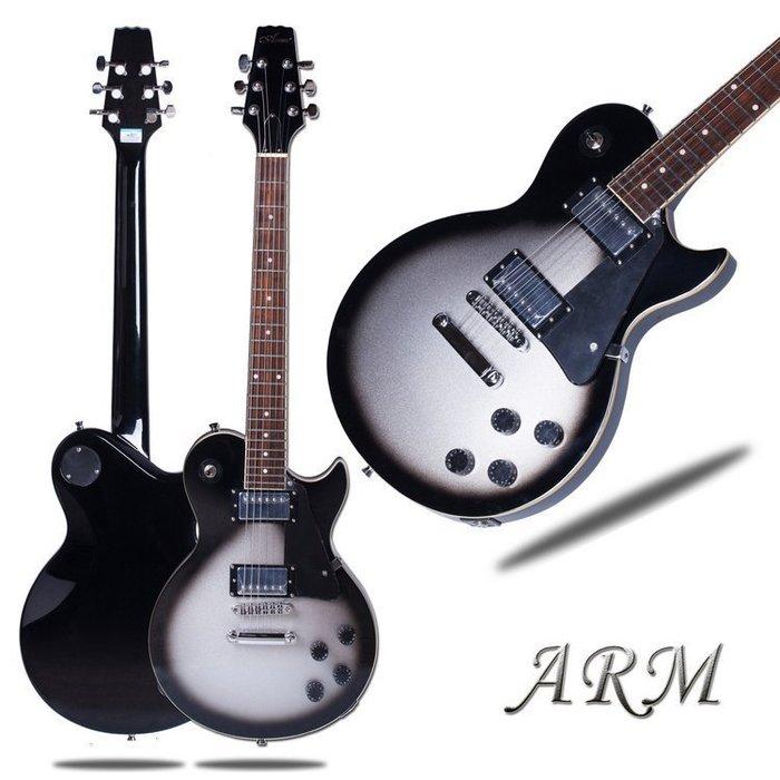 【易生發生活館】你我吉他琴行 商城正品ARM 黑圈銀沙漠色 一體LP電吉他 高性價比 新品