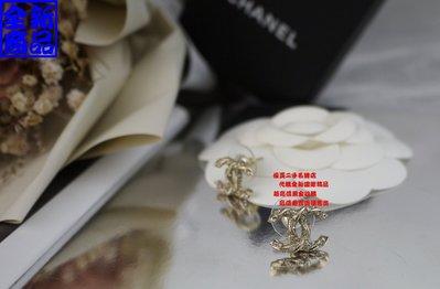 ☆優買二手精品名牌店☆ CHANEL 限量 金色 螺旋 金屬 水鑽 LOGO 雙 C 小香 針式 耳環 『全新商品』