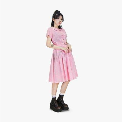 A‧PRANK :DOLLY :: 復古著VINTAGE 淺粉色 小格紋刺繡小花邊短袖古著洋裝
