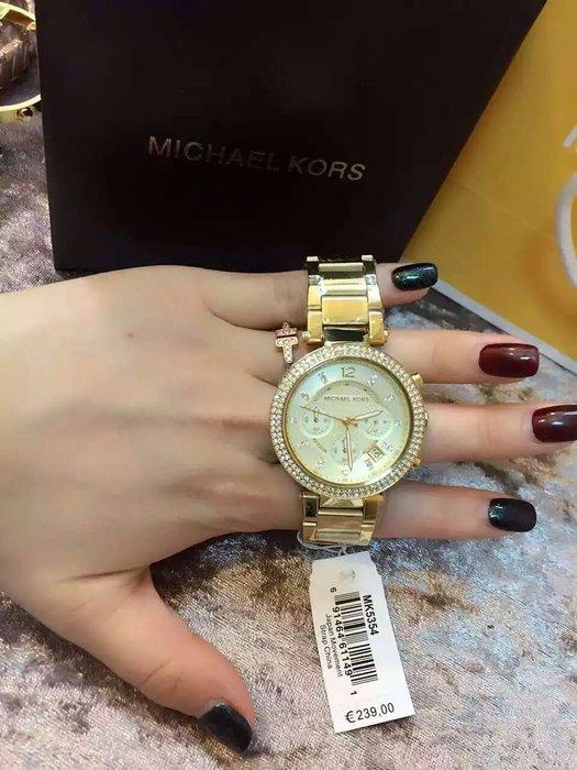 【Michael Kors代購館 】美國正品MK5354 超薄型女錶 簡約氣質款鑲鑽手錶 三眼日期精網腕錶 保銷款現貨