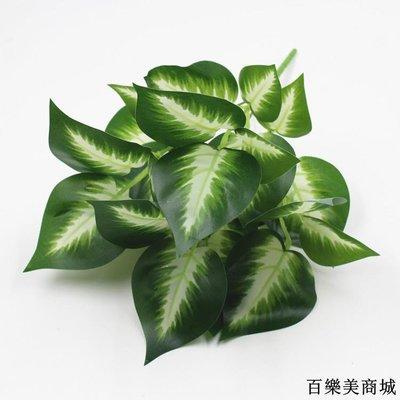 三件起出貨唷 仿真假花綠植墻面墻上裝飾葉子植物背景墻插花配材單支白色綠蘿葉全店免運中