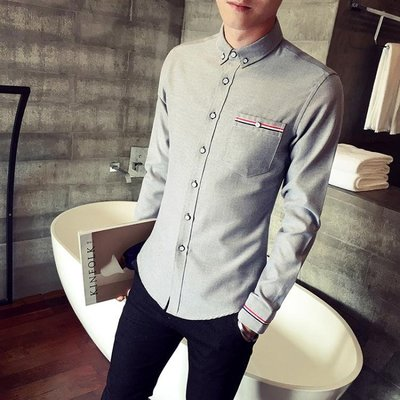 春季長袖襯衫男韓版潮流織帶條紋襯衣男士修身型商務休閒打底寸衫