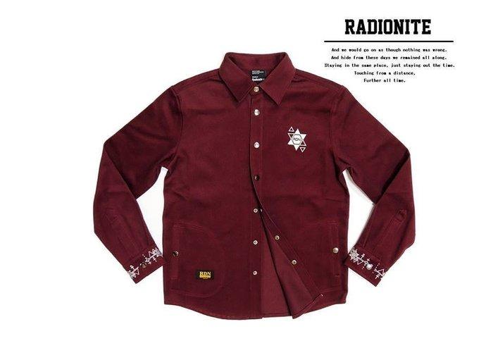 美國東村【RADIONITE】GURUGURU Shirt 幾何 電繡 重磅 襯衫 酒紅色