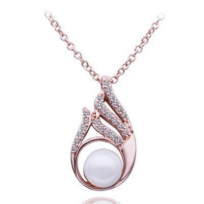 鍍18K金 項鍊 純銀珍珠墜飾-精緻鑲鑽情人節母親節生日 女飾品73ce189    巴黎