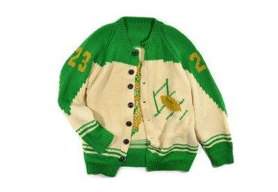 Vintage Cowichan Hand Knit Sweater 橄欖球 手工 編織 考津 外套 毛衣
