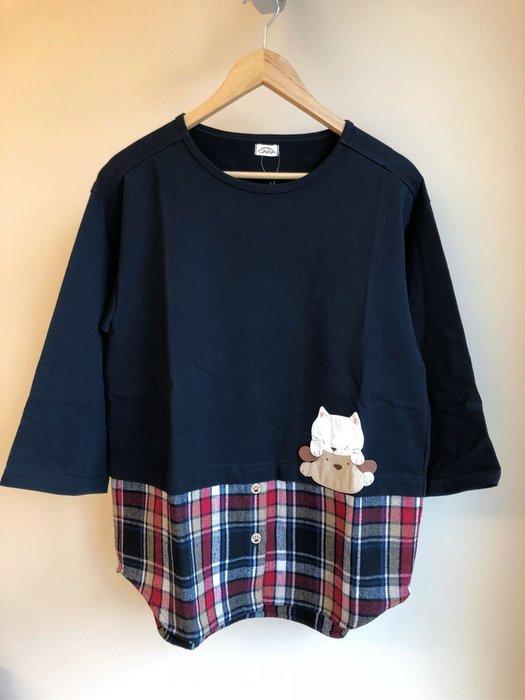 日本卡拉貓~咬咬貓拼格子假兩件上衣