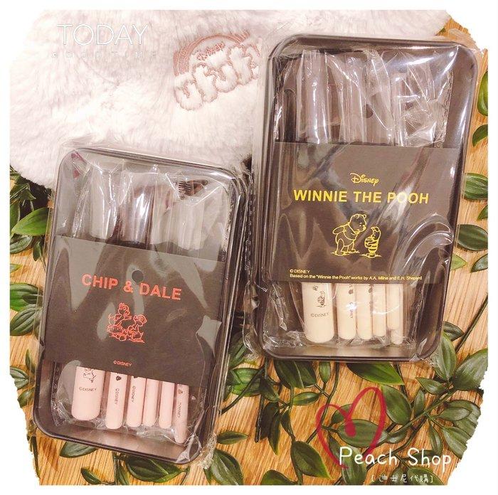 【桃子小舖 ♥ P.S 】 維尼/奇奇蒂蒂 彩妝刷具組收納盒 Disney Store