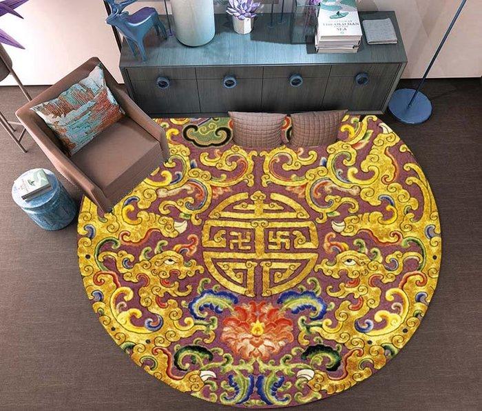 創意 夏季 必備新中式圓形地毯中國風禪意古風萬字回紋龍紋茶室茶桌地墊吊籃椅墊
