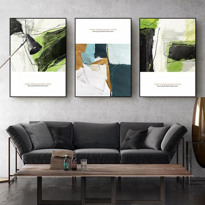 ABOUT。R 抽象色彩清新掛畫客廳裝飾畫現代簡約三聯畫沙發背景牆壁畫北歐ins風格藝術畫樓梯間掛畫 (9款可選)