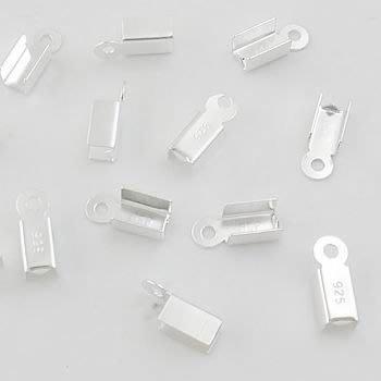 琥珀貓~【925純銀材料配件】皮繩頭~中山夾~N8986款~3mm~一對2個