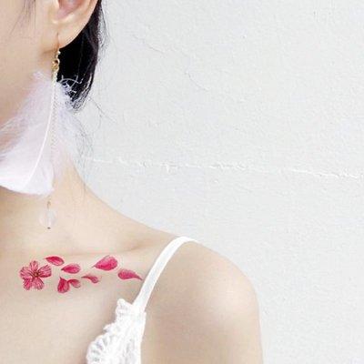 小花花精貨店-買二送一*櫻花紋身貼防水...