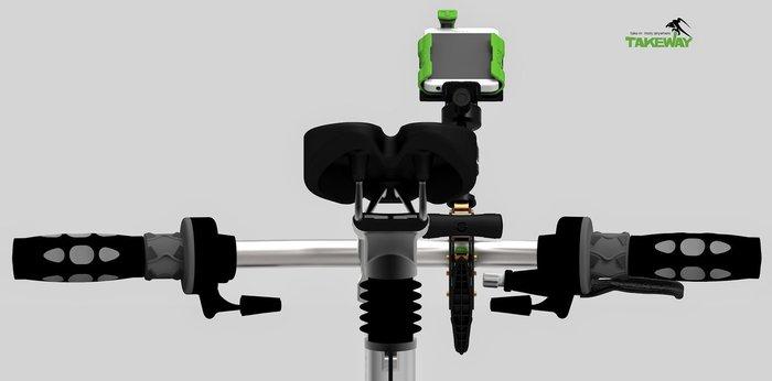 又敗家@台灣TAKEWAY運動手機架+T1鉗式腳架(含相機座夾架球型雲台)運動手機夾鉗迷你腳架夾式腳架運動手機座適開車錄影自拍神器極限運動單車滑板自行車重型機車
