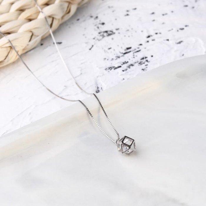 網紅項鏈女性冷淡風幾何簡約鎖骨鏈925純銀防過敏吊墜