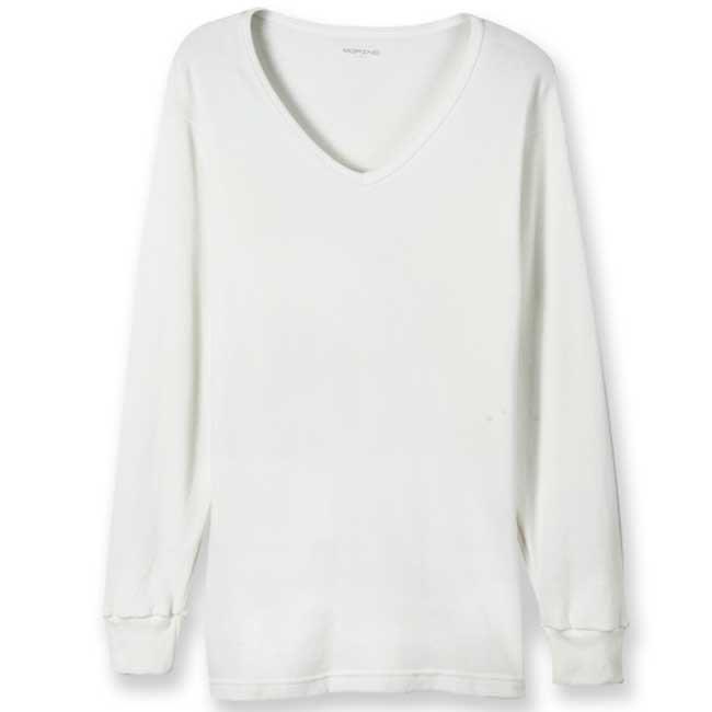 【MORINO摩力諾】男內衣 型男棉質 長袖T恤/V領衫-白(超值5件組)