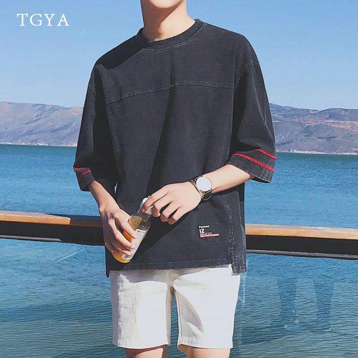 夏天日繫帥氣七分袖T恤男士寬鬆純色體恤衫半袖青少年學生潮流