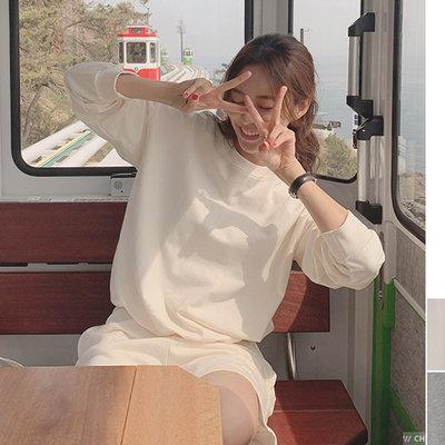 CHERRYKOKO官方授權 四月新品【CBAECK052Q】正韓 韓國製  [SET] 大學T上衣+休閒短褲套裝
