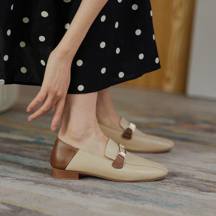 『Alice❤愛麗絲』春季新款淺口單鞋女士平底低跟樂福英倫百搭真皮皮鞋
