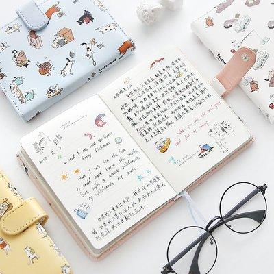 學習用品 本子 文具 金谷浮世貓語可愛皮面磁扣手賬本韓國小清新彩頁插畫手帳本筆記本
