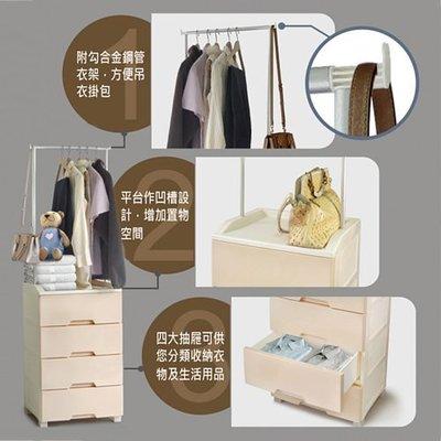 免運/台灣製造/LT840衣掛式整理櫃/梅勒爾衣掛式四抽收納櫃112L/可掛衣服的層櫃/衣架式收納櫃/層櫃架/衣物收納