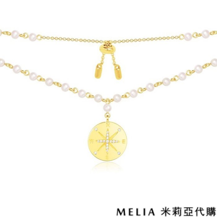 Melia 米莉亞代購 商城特價 每日更新 19ss APM MONACO 飾品 項鍊 金色純銀鑲鑽珍珠 指南針