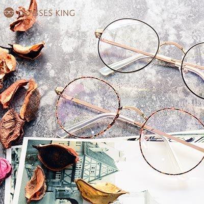 眼鏡王☆現貨金屬氣質圓框日本韓國正妹小臉鼻墊鏡框文青平光黑金碎花色A204