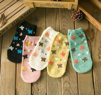 襪子【FSW051】可愛小蝴蝶短筒襪 隱形襪 短襪 螢光色 氣墊襪 純棉 毛巾襪 收納女王