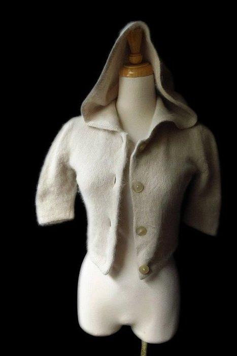 *Beauty*EMPORIO ARMANI淺卡其色羊毛連帽短毛衣外套I38號6990元ZMS