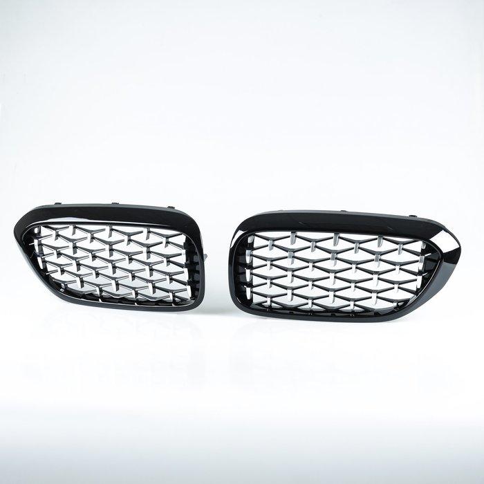 [亮光黑+鍍鉻] 鑽石樣式 ABS水箱罩前格柵鼻頭 BMW 5系列 G30 G31用 2017年式以後適用