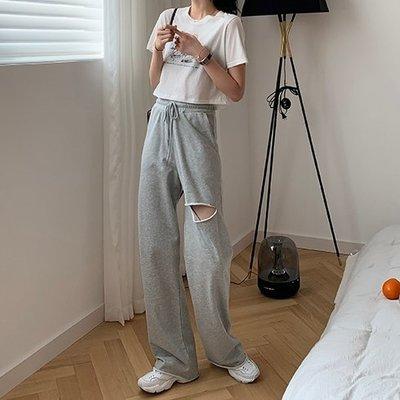 【UBY】破洞拖地褲!薄款高腰直筒褲◄No06201