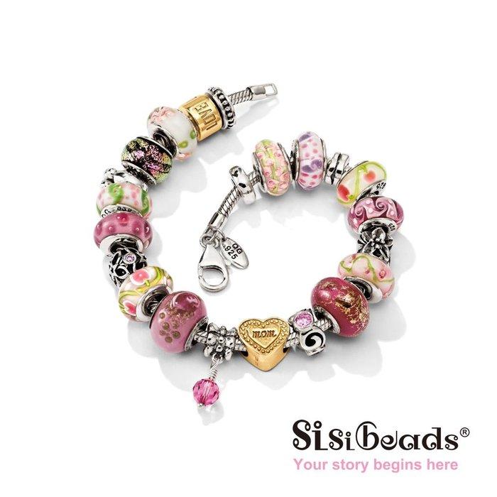 Sisibeads 純銀手鍊 適PANDORA 潘朵拉 Charms 純銀墜飾 璀璨水晶