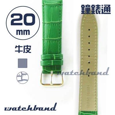 【鐘錶通】C1.50AA《霧面系列》鱷魚格紋-20mm 霧面草綠┝手錶錶帶/皮帶/牛皮錶帶┥